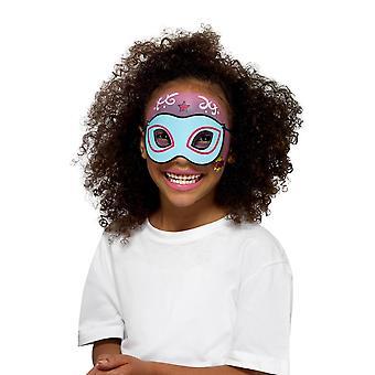 Kit de super-herói com 8 cores esponjas escova adesivos & 4 máscaras, Facepaint