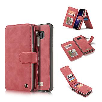 CASEME Samsung Galaxy S8 Plus Retro läder plånboksfodral Röd