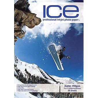 "50 x ICE Pre-Cut 7""x5"" Photo Card - Inkjet Printing Paper - Matte 190gsm - Professional Premium Photographic Paper"
