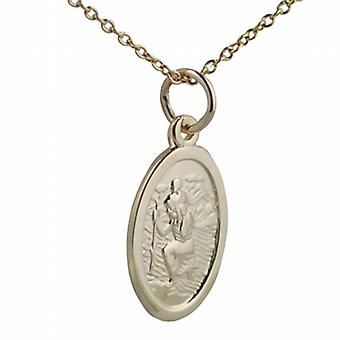 9ct Gold 17x11mm oval St Christopher Pendant with a cable Chain 20 inches