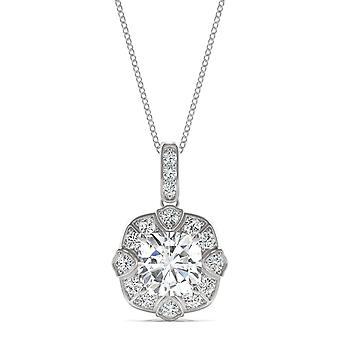 Moissanite de ouro branco 14K por Charles e Colvard 6,5 mm coxim pingente de colar, 1.55cttw DEW