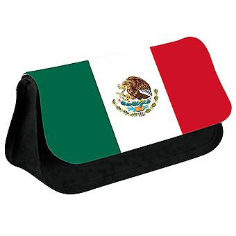 Mexico Flag Printed Design Pencil Case for Stationary/Cosmetic - 0112 (Black) by i-Tronixs