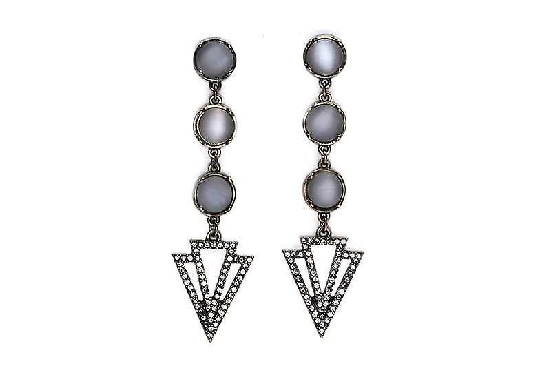 Long Statement Art Deco Dangle Drop Earrings, Faux Opal