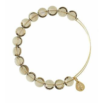 Alex and Ani Smoke Luxe Bead Gold Bangle BBEB111G