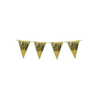 Party favors  Flag line holographic gold '50' (8m)