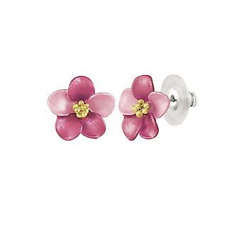 Eternal Collection Aemone Fuchsia Pink Stud Enamel Gold Tone Pierced Boucles d'oreilles