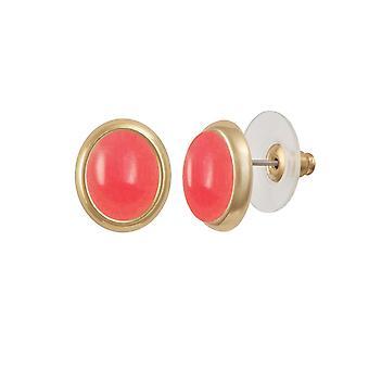 Eternal Collection Minuet Salmon Pink Quartz Gold Tone Stud Pierced Earrings