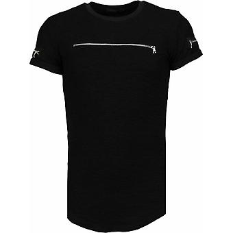 Zipped Chest - T-Shirt - Black