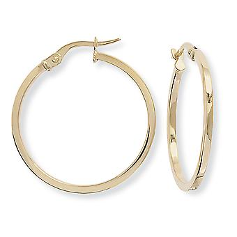 Jewelco London Ladies 9ct Yellow Gold 1.5mm Square Tube Round Hoop Earrings - 25mm