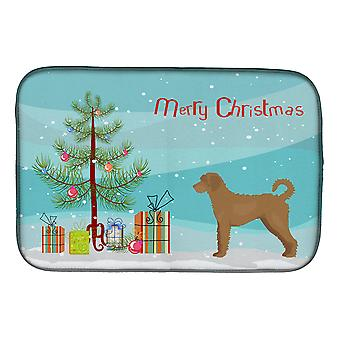 Carolines Treasures  CK3846DDM Tan Labradoodle Christmas Tree Dish Drying Mat