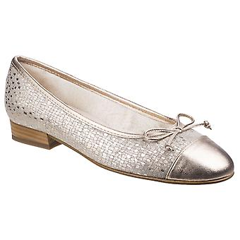 Riva Womens Ledro Suede Ballerina Court Shoe Pewter