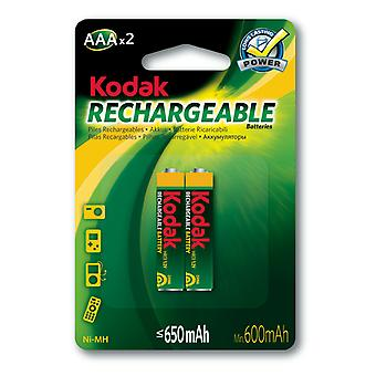 2x Kodak rechargeable AAA battery NiMH  650 mAh batteries