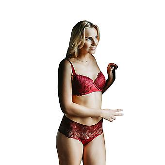 Guy de France 57112-C Femmes-apos;s Bordeaux Red Embroidered Knicker Shorties Shorties Boyshort