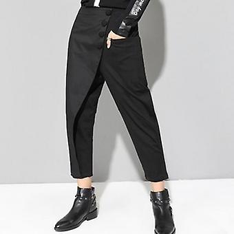 High Waist Flat Elastic  Tide Wide Leg Ankle-length Pants