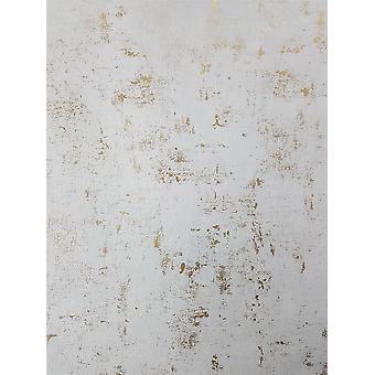 Industriel sten beton tapet metallisk hvid guld vinyl pasta væg