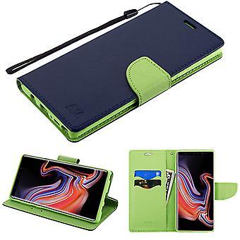 MYBAT dunkelblau Muster/grün Liner MyJacket Brieftasche (mit Kartenschlitz)(84L) für Galaxy Note 9