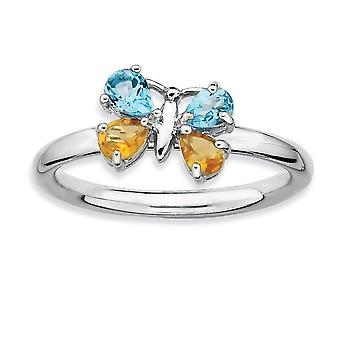 925 Sterling Silver Polished Prong conjunto Rhodium plated Stackable Expressions BT e CI Butterfly Angel Wings Ring Jewely