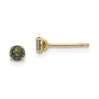 14k oro amarillo pulido redondo místico topacio 3mm post pendientes mide 3x3mm regalos de joyería de ancho para las mujeres
