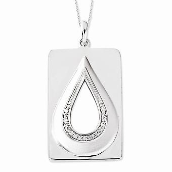 925 Sterling Silver Polished Spring Ring CZ Cubic Zirconia Simulated Diamond He Will Wipe Away Our Tears 18inch Necklace