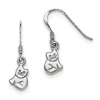 925 Sterling Silber Rh vergoldet für Jungen oder Mädchen poliert Katze lange Tropfen Baumseider Ohrringe - 1,3 Gramm