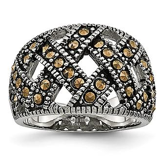 Stainless Steel Polished Textured With Crystals Ring Jewelry Gifts for Women - Ring Size: 6 to 9