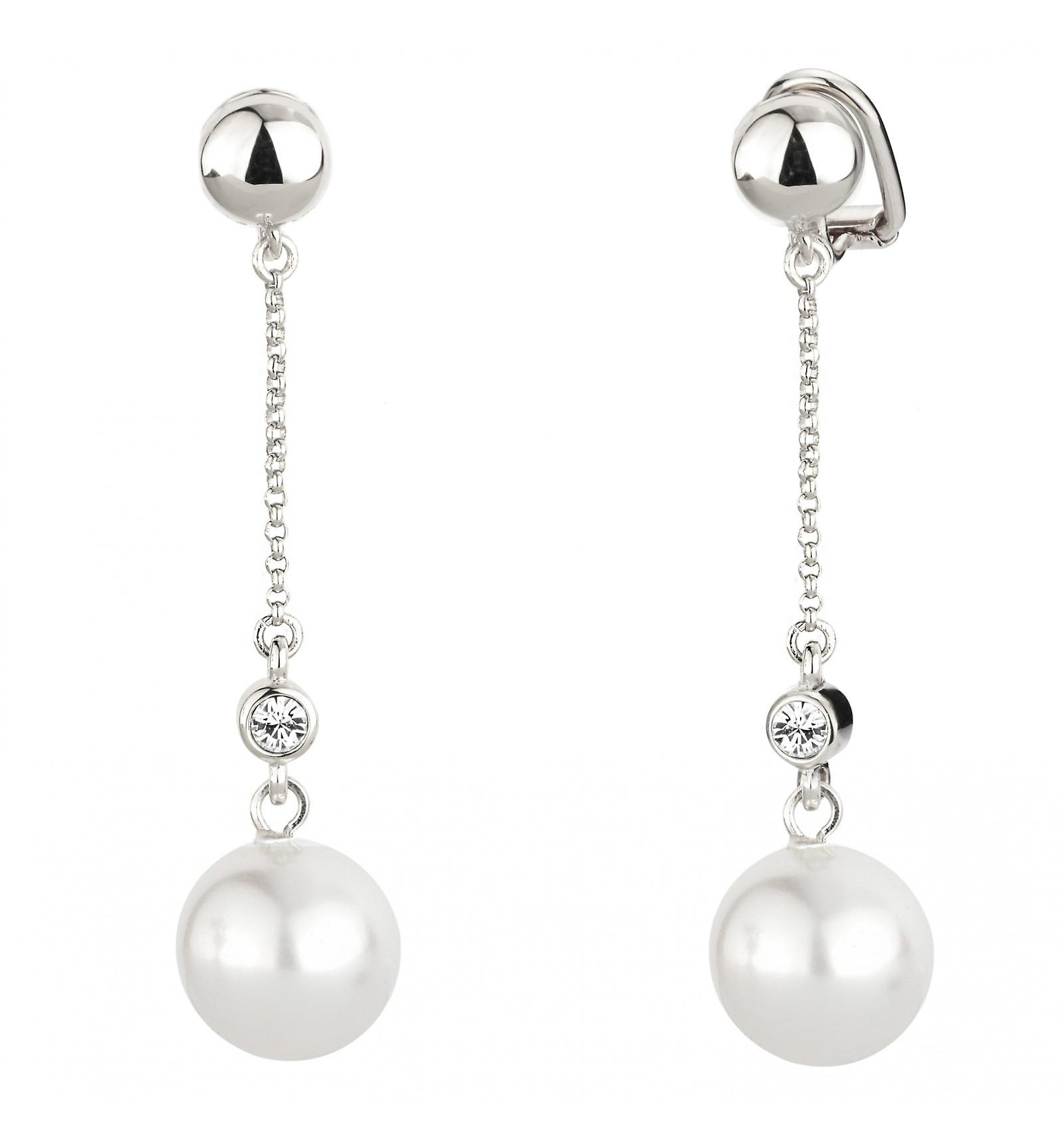 Traveller clip earring - hanging - white pearl - rhodium plated - 114140