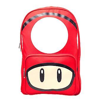 Super Mario mochila cogumelo rosto novo oficial Nintendo Red