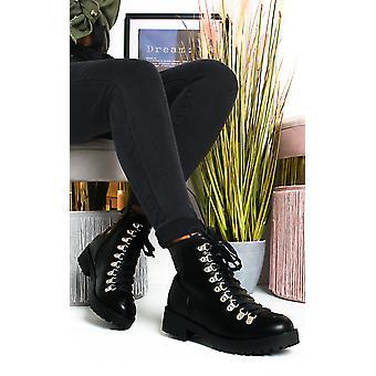 IKRUSH النساء ليسي الدانتيل حتى الأحذية المسطحة