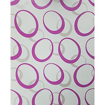 Retro Circles Geometric Wallpaper Purple White Taupe Paste The Wall Vinyl P+S