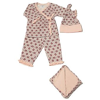 Baby grå 4-pc. Gavesæt (pjusket Kimono top & bukser, Cap & tæppe)