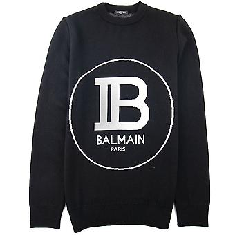 Balmain Circle Logo Knitted Crew Neck Sweatshirt Noir