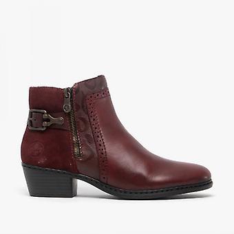 ريكر 75585-30 السيدات كتلة كعب الكاحل أحذية النبيذ