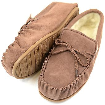 Ladies Light Brown mocassin en peau de mouton Pantoufle avec semelle dure