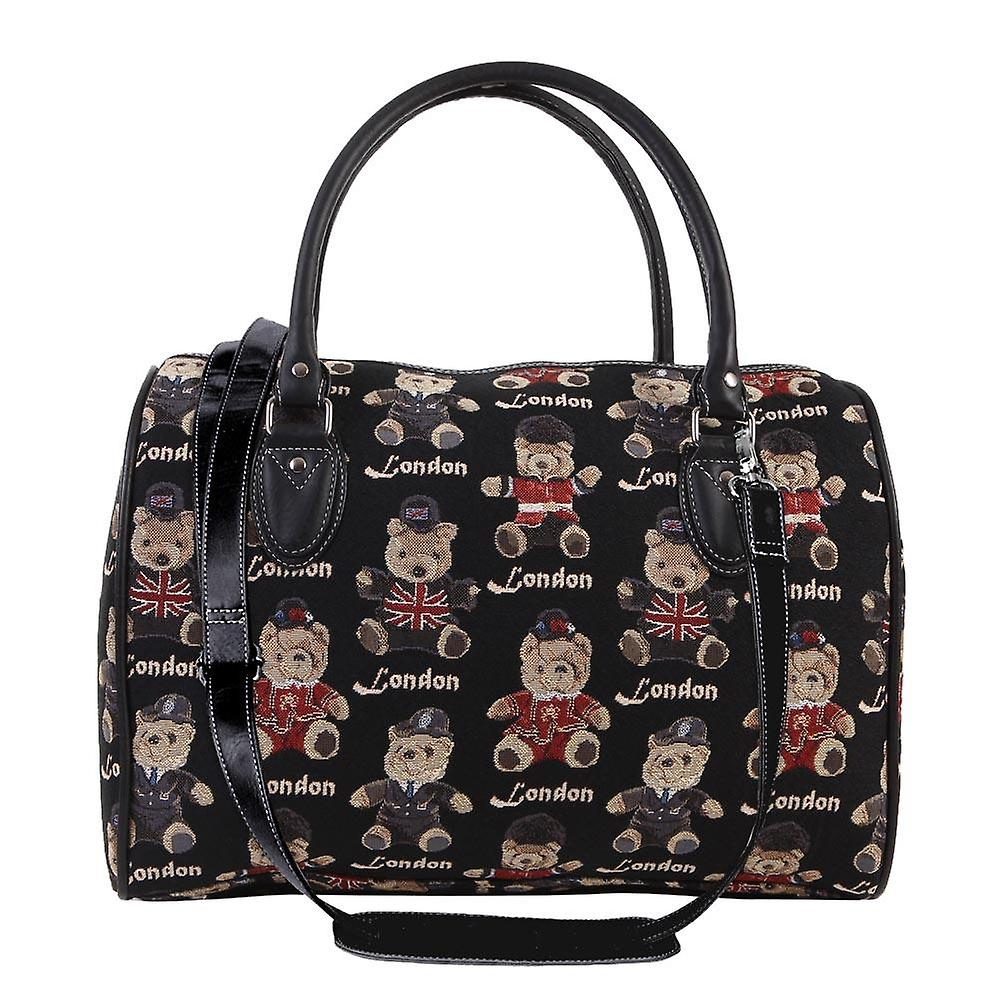 London bear luggage travel bag by signare tapestry / trav-lnbe