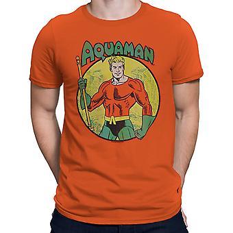 Aquaman Trident Bearing Circle Orange T-Shirt
