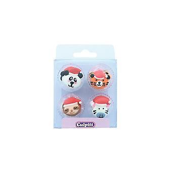 Culpitt Zucker Dekorationen - 12 wilde Tiere mit Santa Hüte - Einzelhandel verpackt - Single