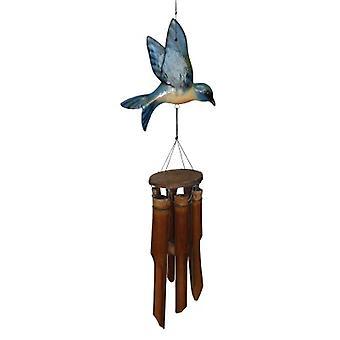 Glossy Finish Blue Bird Wind Chime