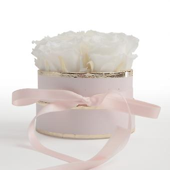 Floral Box Pink Round Preserved Roses in White
