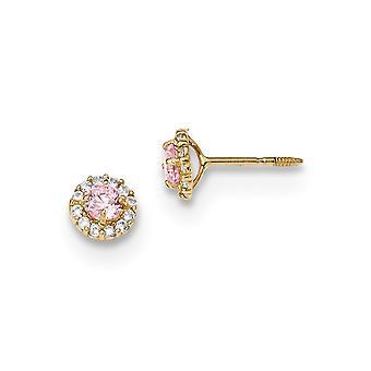 5.35mm 14k Madi K kiillotettu vaaleanpunainen ja selkeä CZ Cubic Zirkonia Simuloitu Diamond Ruuvi takaisin Post korvakorut korut lahjat