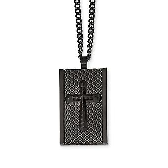 Stainless Steel Black Ip plated Matte Finish Religious Faith Cross Necklace 24 Inch Jewelry Gifts for Women