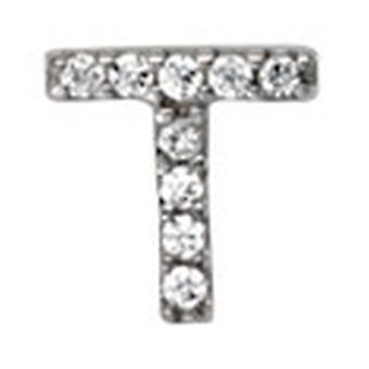 925 Sterling Silber Rhodium vergoldet einzelne CZ zirkonia simuliert Diamant Buchstaben Name personalisierte Monogramm initial