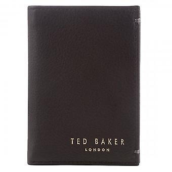 Ted Baker Zacks Skóra Mały Bi-Fold Card Portfel Czarny