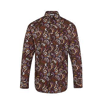 JSS Paisley Brown Regular Fit 100% Cotton Shirt