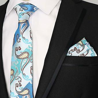 Turquoise stripe & oat paisley pocket square & tie set