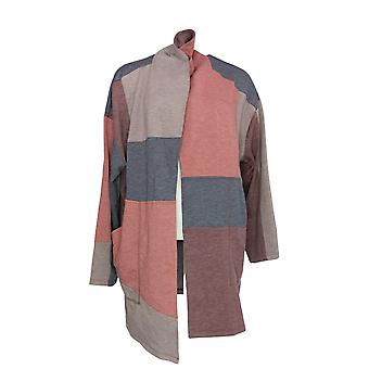 LOGO by Lori Goldstein Women's Patchwork Duster Jacket Burg Red A343840