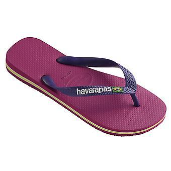 Womens Havaianas Brazil Logo été caoutchouc léger Tongs sandales