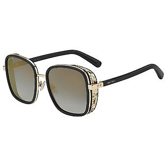 Jimmy Choo Elva/S 2M2/FQ Black-Gold/Grey Gradient-Gold Mirror Sunglasses