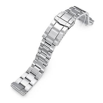 Strapcode watch bracelet 20mm super 3d oyster 316l stainless steel watch bracelet for seiko sbdc053 aka modern 62mas, submariner clasp, brushed