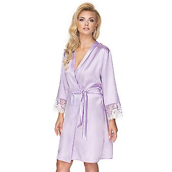 Irall Women's Andromeda Lavender Pink Floral Lace Robe Loungewear Bath Dressing Gown