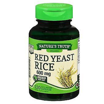 Nature'é verdade arroz de levedura vermelha, 600 mgs, cápsulas de liberação rápida, 120 ea
